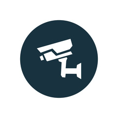 security camera circle background icon.