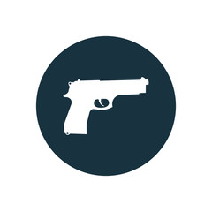 gun circle background icon.