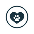 pet heart circle background icon.