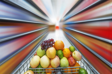 supermarket cart,fruits in the cart