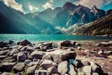 Green water mountain lake Morskie Oko, Tatra Mountains, Poland - 70468553