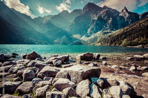 Green water mountain lake Morskie Oko, Tatra Mountains, Poland