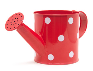 red polka dot watering can