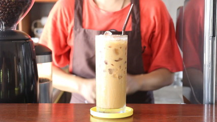 Barista Serving Fresh Brew Iced Coffee, Stock Video
