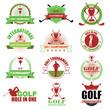 Set of vintage golf tournament badge labels. Vector Illustration