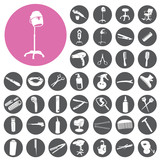 Hairdressing icon set related symbol. Vector Illustration eps10