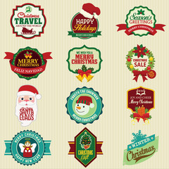 Set of labels and elements for Christmas and New Year 2014 Badge