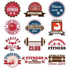 Set of various sports and fitness logo graphics and icons badge