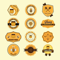 Set of vintage honey labels, badges and design elements. Vector