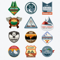 Set of retro camping and outdoor adventure logo badges and label
