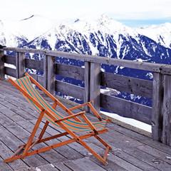 lounge chair at mountain ski resort in Alps, Austria