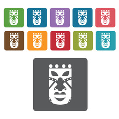 Africa Mask icon. African culture icons set. Rectangle colourful