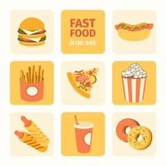 vector icon set fast food