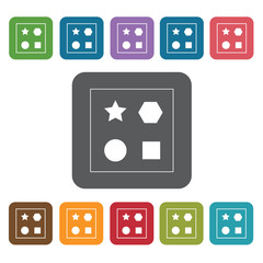 Toy shapes icon. Baby Toys And Care icon set. Rectangle colourfu