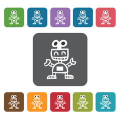 Toy robot icon. Baby Toys And Care icon set. Rectangle colourful
