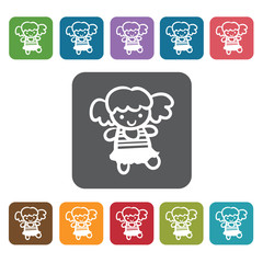 Doll icon. Baby Toys And Care icon set. Rectangle colourful 12 b