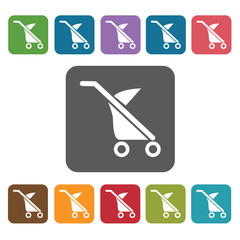 Baby stroller icon. Baby Toys And Care icon set. Rectangle colou