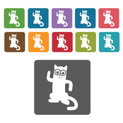 Cat silhouette icon. Cat icon set. Rectangle colourful 12 button