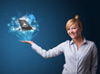 Cloud technology in the hand of a businesswoman
