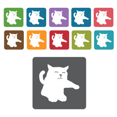 Kitten icon. Cat icon set. Rectangle colourful 12 buttons. Vecto