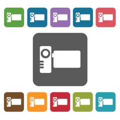 Videocam icon. Cinema movie icons set. Rectangle colourful 12 bu