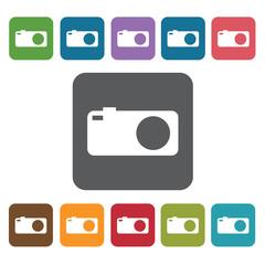 Camera icon. Cinema movie icons set. Rectangle colourful 12 butt