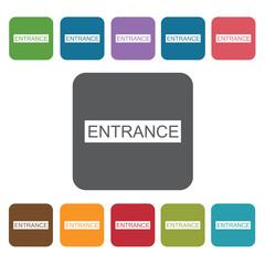 Entrance sign icon. Cinema movie icons set. Rectangle colourful