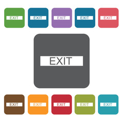 Exit sign icon. Cinema movie icons set. Rectangle colourful 12 b