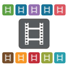 Film icon. Cinema movie icons set. Rectangle colourful 12 button