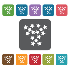 Stars icon. Cinema movie icons set. Rectangle colourful 12 butto