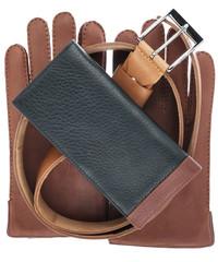 Men's wallet, belt and gloves