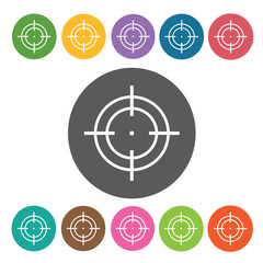Square reticle icon. Crosshair icon set. Round colourful 12 butt