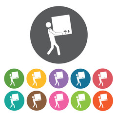 Carrying box delivery boy icon. Delivery man shipping icon set.