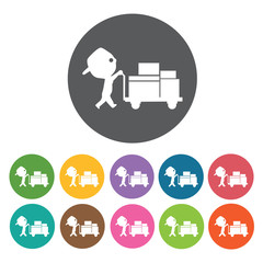 Cart delivery icon. Delivery man shipping icon set. Round colour