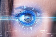 Cyber girl with technolgy eye looking into blue iris