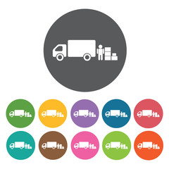 Delivery truck loading cargo icon. Delivery man shipping icon se