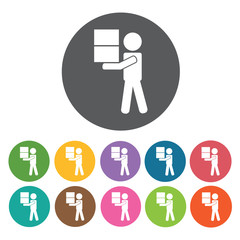 Delivery man carrying stacked boxes icon. Delivery man shipping