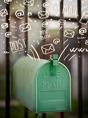 Postbox with white hand drawn mail icons
