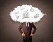 Elegant business man cloud head with hand drawn graphs