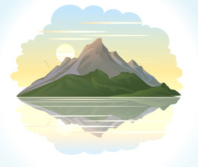 SUNRISE MOUNTAIN LAKE ILLUSTRATION