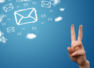 Happy smiley fingers looking at mail icons made out of clouds