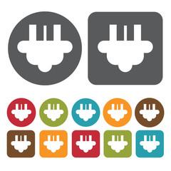3 asymmetrical pin plug icon. Electric plug icon set. Round and