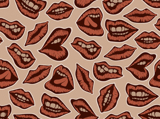 Vintage red lips vector pattern