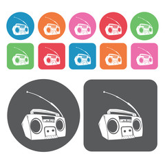 Radio with antennae icon. Electronic devices icons set. Round an