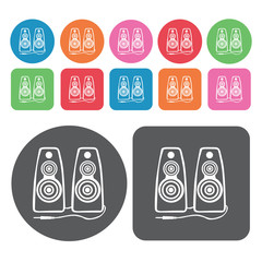 Speakers icon. Electronic devices icons set. Round and rectangle