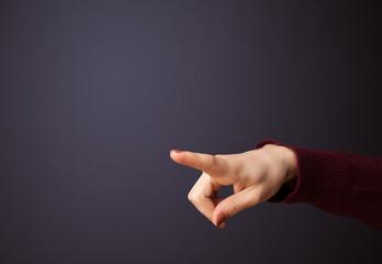 Gun shaped woman hand