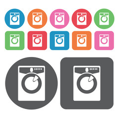 Washing machine icon. Electronic devices icons set. Round and re