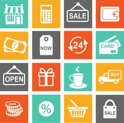 Set of shopping icons in flat colorful style