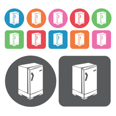 Refrigerator icon. Electronic devices icons set. Round and recta