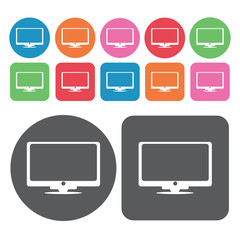 Lcd tv icon. Electronic devices icons set. Round and rectangle c